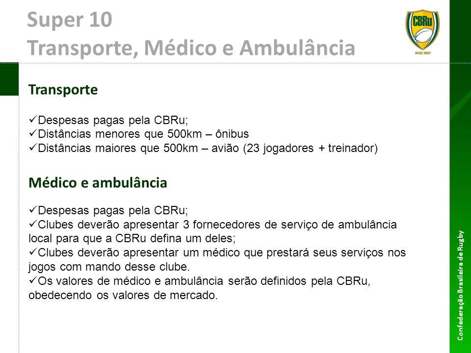 Super 10 Transporte, Médico e Ambulância Transporte Despesas pagas pela CBRu; Distâncias menores que 500km – ônibus Distâncias maiores que 500km – avi