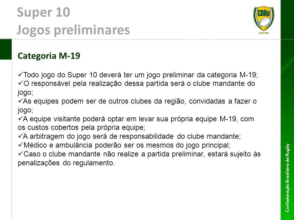 Confederação Brasileira de Rugby Super 10 Jogos preliminares Categoria M-19 Todo jogo do Super 10 deverá ter um jogo preliminar da categoria M-19; O r
