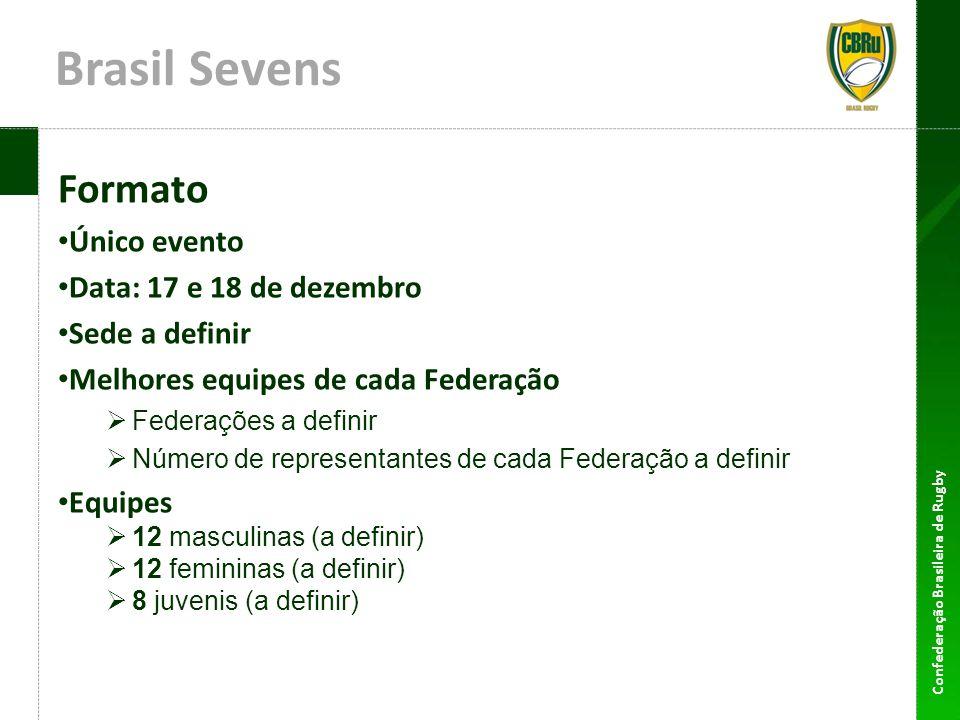 Confederação Brasileira de Rugby Brasil Sevens Formato Único evento Data: 17 e 18 de dezembro Sede a definir Melhores equipes de cada Federação Federa
