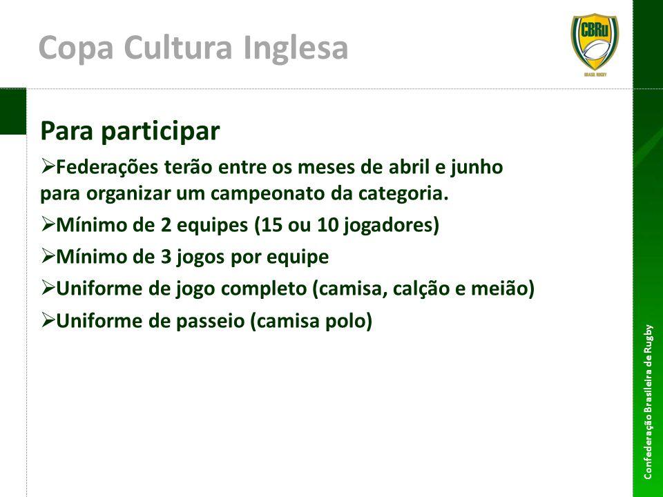 Confederação Brasileira de Rugby Copa Cultura Inglesa Para participar Federações terão entre os meses de abril e junho para organizar um campeonato da