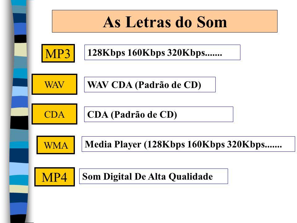 As Letras do Som MP3 128Kbps 160Kbps 320Kbps....... WAV WAV CDA (Padrão de CD) WMA Media Player (128Kbps 160Kbps 320Kbps....... MP4 Som Digital De Alt