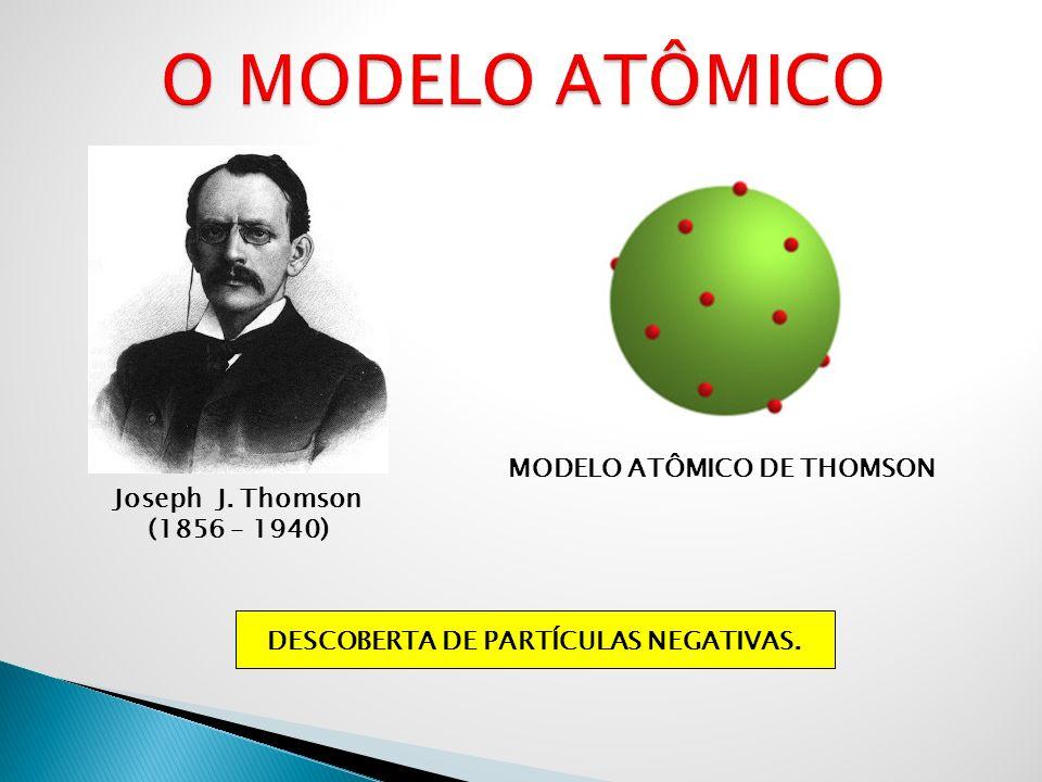 Joseph J. Thomson (1856 – 1940) MODELO ATÔMICO DE THOMSON DESCOBERTA DE PARTÍCULAS NEGATIVAS.