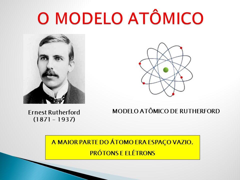 Ernest Rutherford (1871 – 1937) MODELO ATÔMICO DE RUTHERFORD A MAIOR PARTE DO ÁTOMO ERA ESPAÇO VAZIO. PRÓTONS E ELÉTRONS