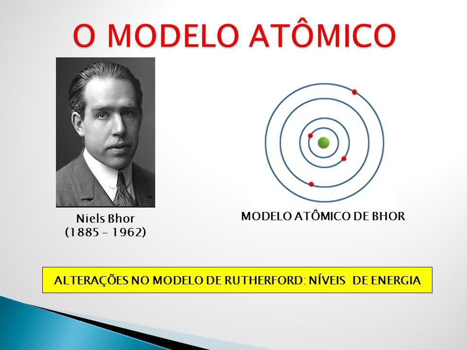 Niels Bhor (1885 – 1962) MODELO ATÔMICO DE BHOR ALTERAÇÕES NO MODELO DE RUTHERFORD: NÍVEIS DE ENERGIA