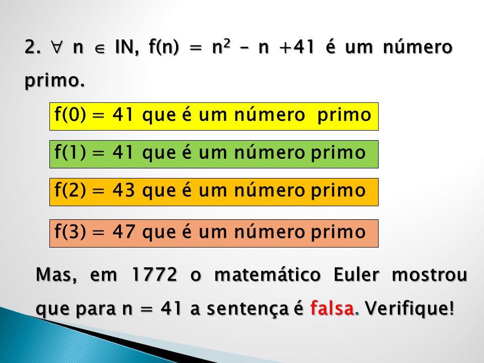 2. n IN, f(n) = n 2 – n +41 é um número primo. f(0) = 41 que é um número primo Mas, em 1772 o matemático Euler mostrou que para n = 41 a sentença é fa