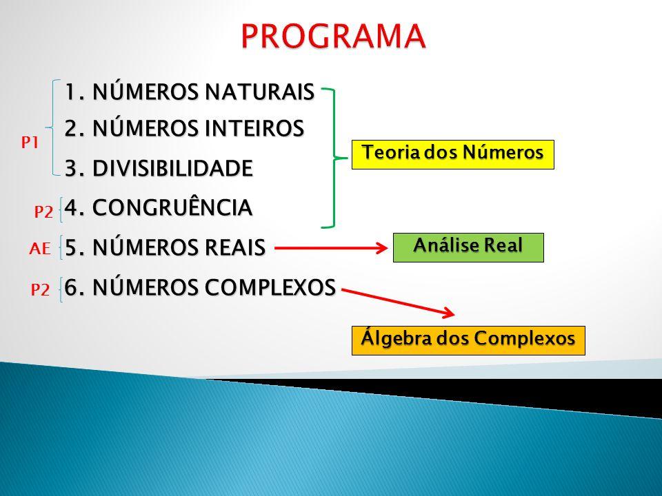 1. NÚMEROS NATURAIS 2. NÚMEROS INTEIROS 3. DIVISIBILIDADE 4. CONGRUÊNCIA 5. NÚMEROS REAIS 6. NÚMEROS COMPLEXOS Teoria dos Números Análise Real Álgebra