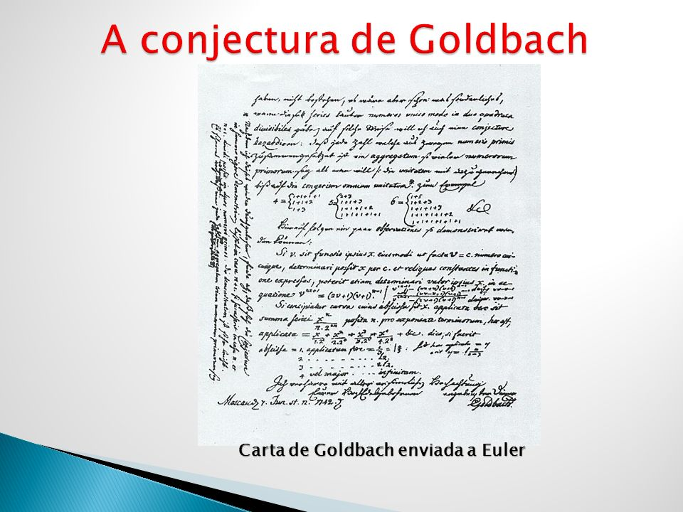 Carta de Goldbach enviada a Euler