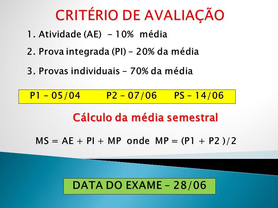 1. Atividade (AE) - 10% média 2. Prova integrada (PI) – 20% da média 3. Provas individuais – 70% da média P1 – 05/04 P2 – 07/06 PS – 14/06 Cálculo da