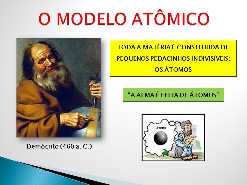 John Dalton (1766 – 1844) MODELO ATÔMICO DE DALTON O ÁTOMO SERIA UMA PARTÍCULA PEQUENA, INDIVISÍVEL E INDESTRUTÍVEL.
