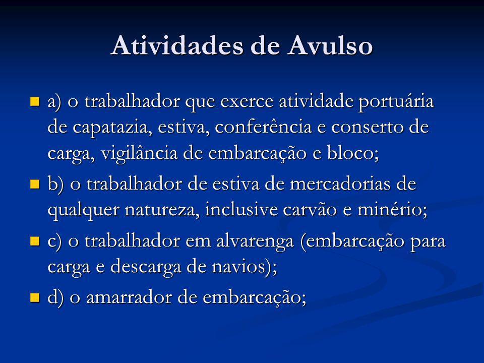 Atividades de Avulso a) o trabalhador que exerce atividade portuária de capatazia, estiva, conferência e conserto de carga, vigilância de embarcação e