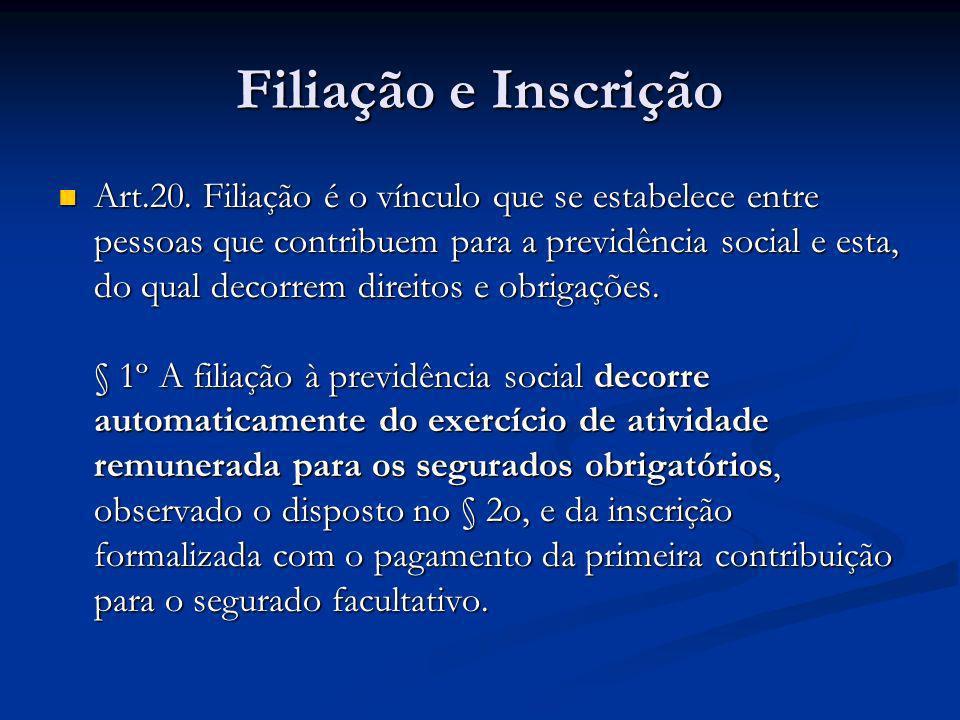 Filiação e Inscrição Art.20. Filiação é o vínculo que se estabelece entre pessoas que contribuem para a previdência social e esta, do qual decorrem di