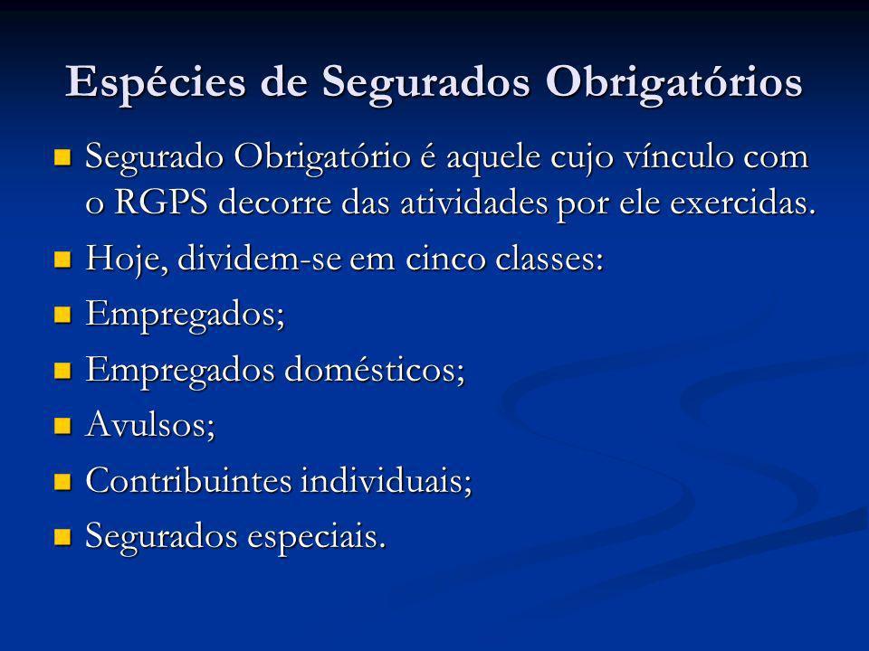 Espécies de Segurados Obrigatórios Segurado Obrigatório é aquele cujo vínculo com o RGPS decorre das atividades por ele exercidas. Segurado Obrigatóri