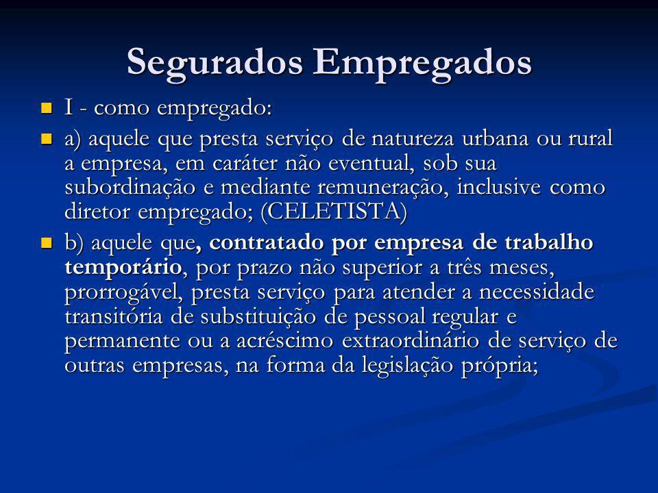 Segurados Empregados I - como empregado: I - como empregado: a) aquele que presta serviço de natureza urbana ou rural a empresa, em caráter não eventu