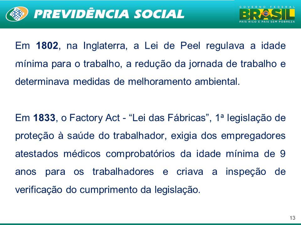 13 Em 1802, na Inglaterra, a Lei de Peel regulava a idade mínima para o trabalho, a redução da jornada de trabalho e determinava medidas de melhoramen