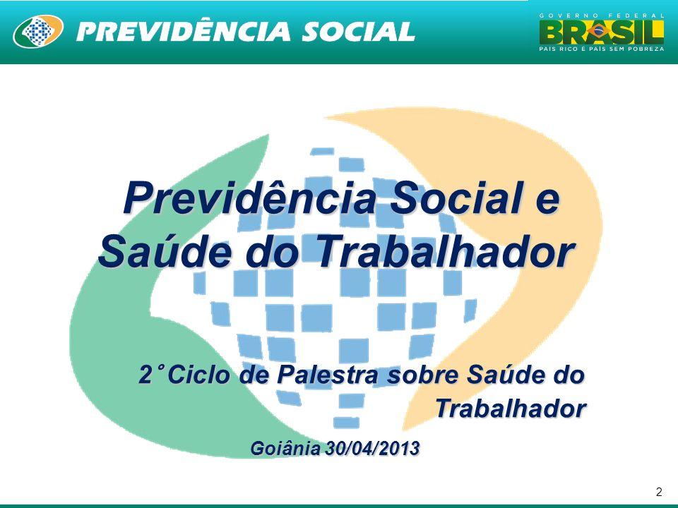 2 Previdência Social e Saúde do Trabalhador Previdência Social e Saúde do Trabalhador 2° Ciclo de Palestra sobre Saúde do Trabalhador Goiânia 30/04/20