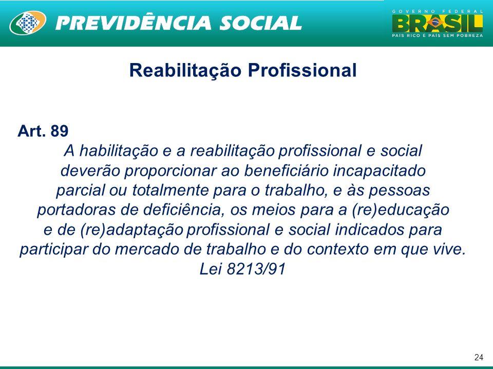 24 Reabilitação Profissional Art. 89 A habilitação e a reabilitação profissional e social deverão proporcionar ao beneficiário incapacitado parcial ou