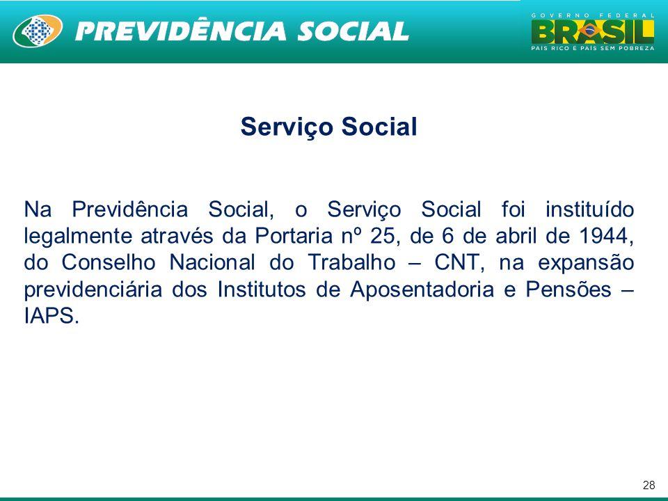 28 Serviço Social Na Previdência Social, o Serviço Social foi instituído legalmente através da Portaria nº 25, de 6 de abril de 1944, do Conselho Naci