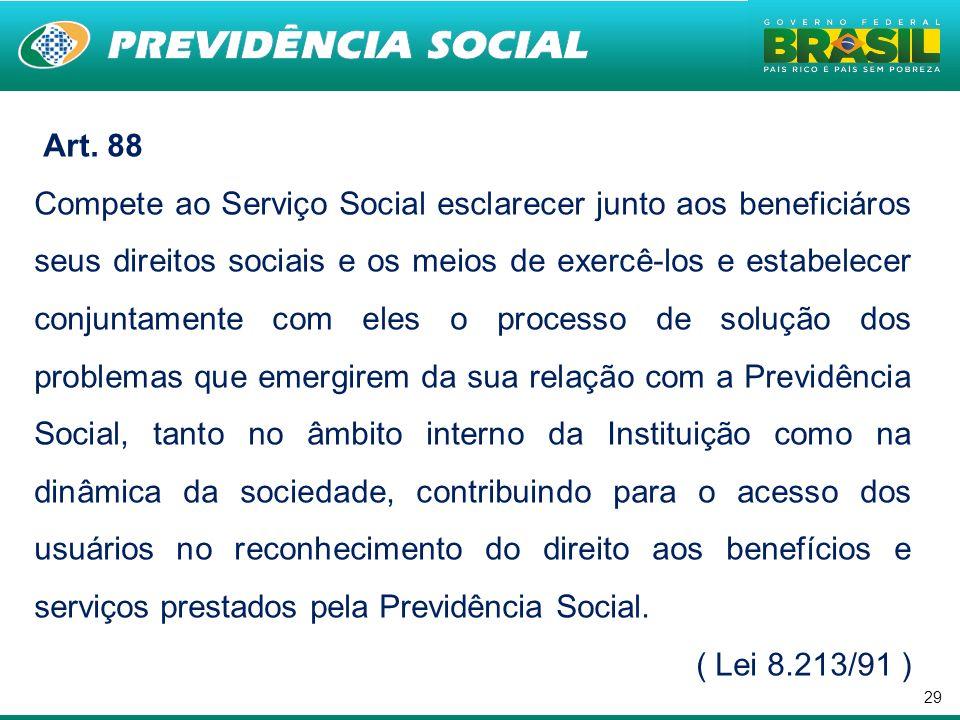29 Art. 88 Compete ao Serviço Social esclarecer junto aos beneficiáros seus direitos sociais e os meios de exercê-los e estabelecer conjuntamente com