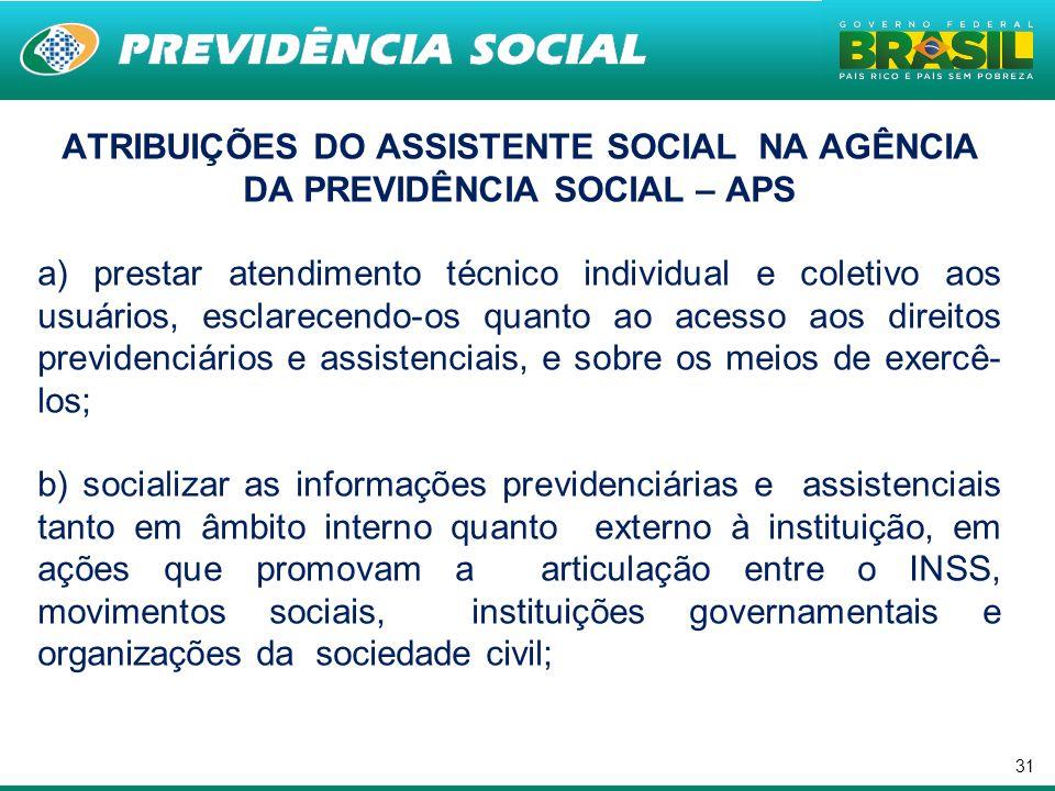 31 ATRIBUIÇÕES DO ASSISTENTE SOCIAL NA AGÊNCIA DA PREVIDÊNCIA SOCIAL – APS a) prestar atendimento técnico individual e coletivo aos usuários, esclarec