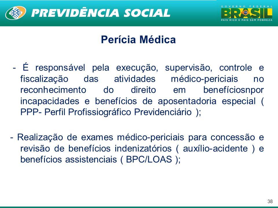 38 Perícia Médica - É responsável pela execução, supervisão, controle e fiscalização das atividades médico-periciais no reconhecimento do direito em b