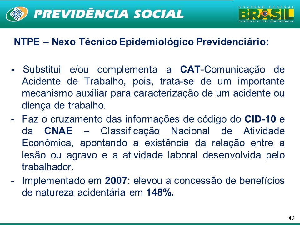 40 NTPE – Nexo Técnico Epidemiológico Previdenciário: - Substitui e/ou complementa a CAT-Comunicação de Acidente de Trabalho, pois, trata-se de um imp