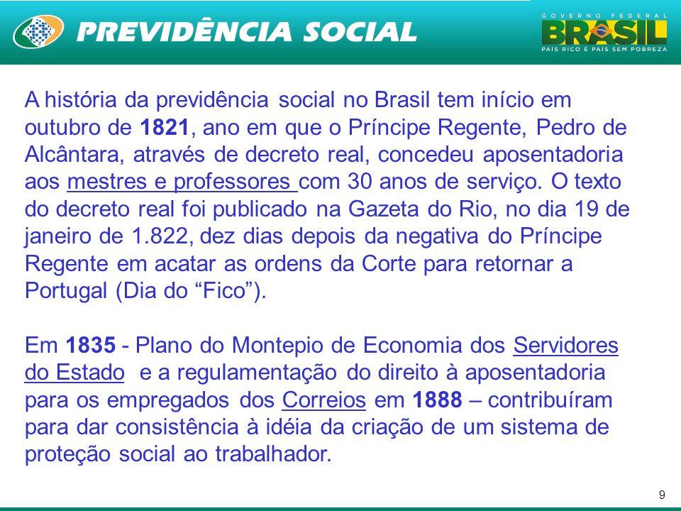9 A história da previdência social no Brasil tem início em outubro de 1821, ano em que o Príncipe Regente, Pedro de Alcântara, através de decreto real