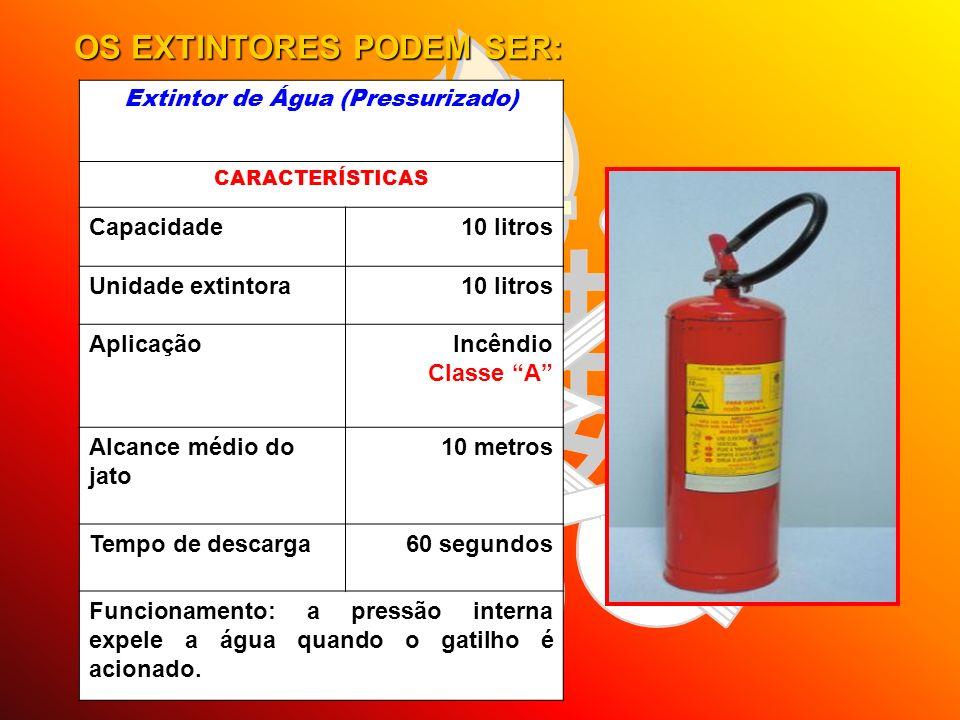 OS EXTINTORES PODEM SER: Extintor de Água (Pressurizado) CARACTERÍSTICAS Capacidade10 litros Unidade extintora10 litros AplicaçãoIncêndio Classe A Alc
