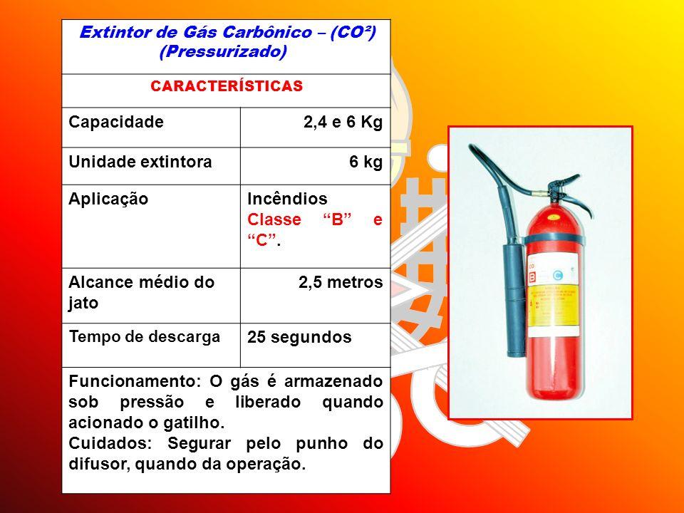 Extintor de Gás Carbônico – (CO²) (Pressurizado) CARACTERÍSTICAS Capacidade2,4 e 6 Kg Unidade extintora6 kg AplicaçãoIncêndios Classe B e C. Alcance m