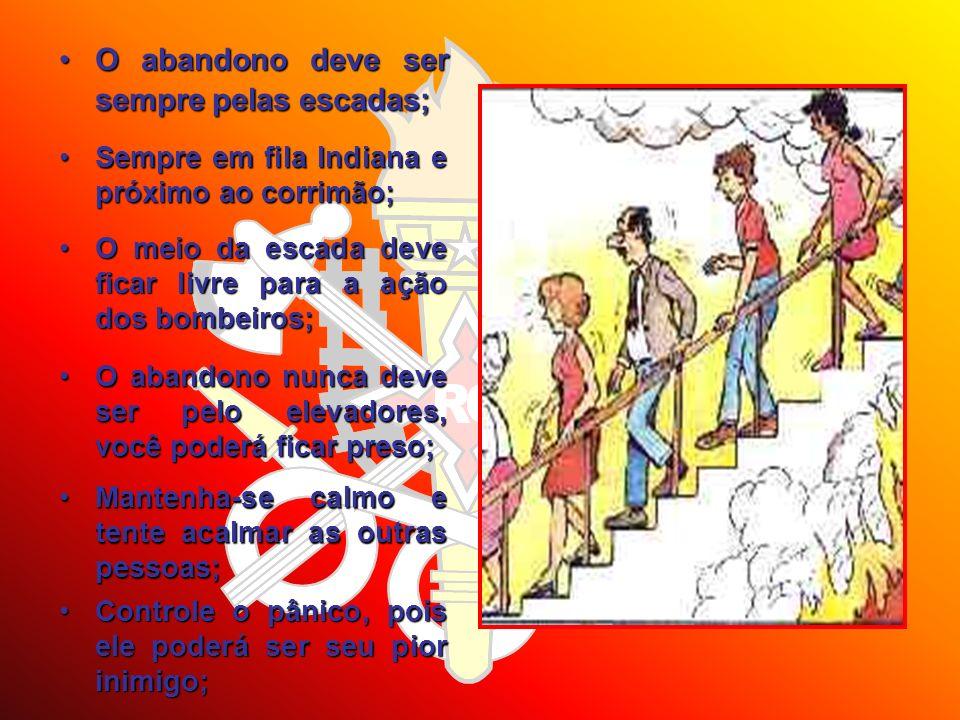 O abandono deve ser sempre pelas escadas;O abandono deve ser sempre pelas escadas; Sempre em fila Indiana e próximo ao corrimão;Sempre em fila Indiana