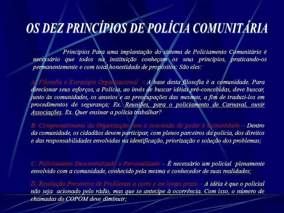 Princípios Para uma implantação do sistema de Policiamento Comunitário é necessário que todos na instituição conheçam os seus princípios, praticando-o