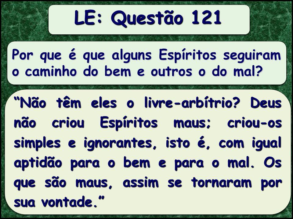 Todos os Espíritos passam pela fieira do mal para chegar ao bem? LE: Questão 120 Não pelo fieira do mal, mas pela da ignorância.
