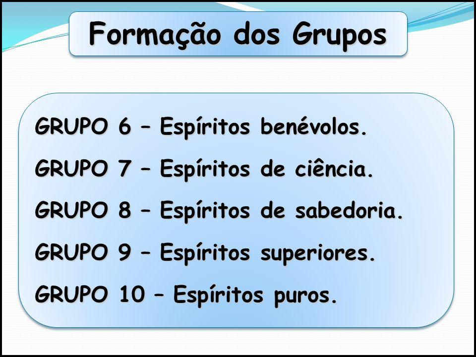 Formação dos Grupos GRUPO 1 – Espíritos impuros. GRUPO 2 – Espíritos levianos. GRUPO 3 – Espíritos pseudo-sábios. GRUPO 4 – Espíritos neutros. GRUPO 5