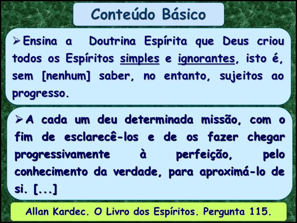 ORDEMCLASSECARACTERÍSTICA 1ª ESPÍRITOS PUROS 1ª ÚNICA Ministros de Deus Allan Kardec.