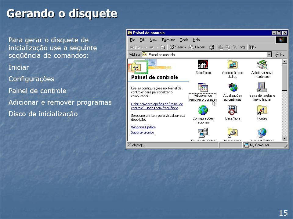 Disquete de inicialização Quando compramos o Windows 98 ou o Windows ME, recebemos junto um disquete de inicialização. Este disquete permite realizar