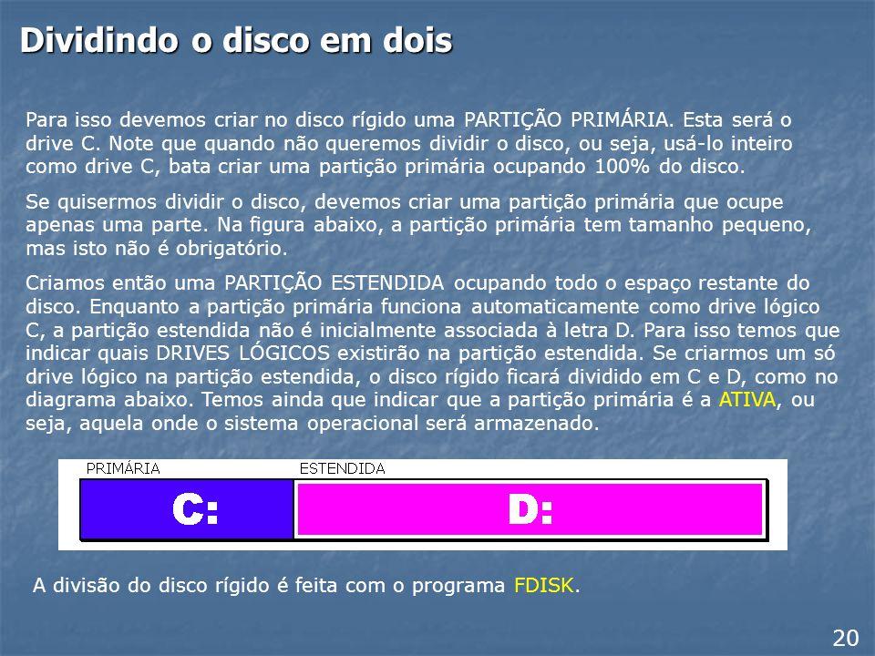 Vantagens em dividir o disco rígido Podemos entretanto dividir o disco rígido em várias unidades lógicas, por exemplo, C: e D:, o que resulta em algum