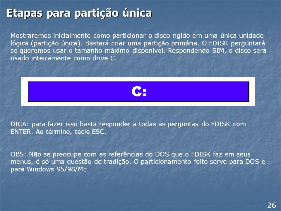 Menu principal do FDISK Estamos usando como exemplo o FDISK que acompanha o Windows ME. Os que acompanham as versões anteriores são idênticos. Use ini
