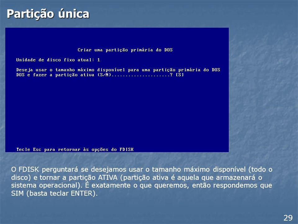Criando partição primária 28 No próximo menu apresentado, use a opção 1: Criar uma partição primária do DOS