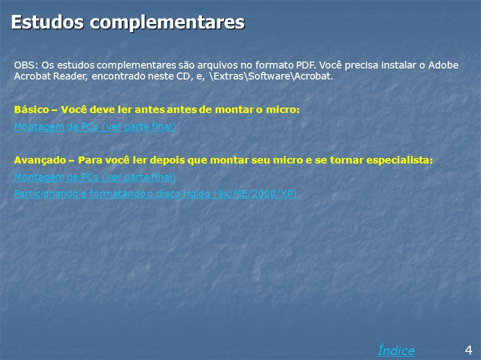Saindo do FDISK 54 Voltando ao menu principal do FDISK, note que não é mais apresentada a mensagem AVISO, nenhuma partição está ativada… Se você quiser pode usar o comando 4 para ver como ficou o particionamento do disco.