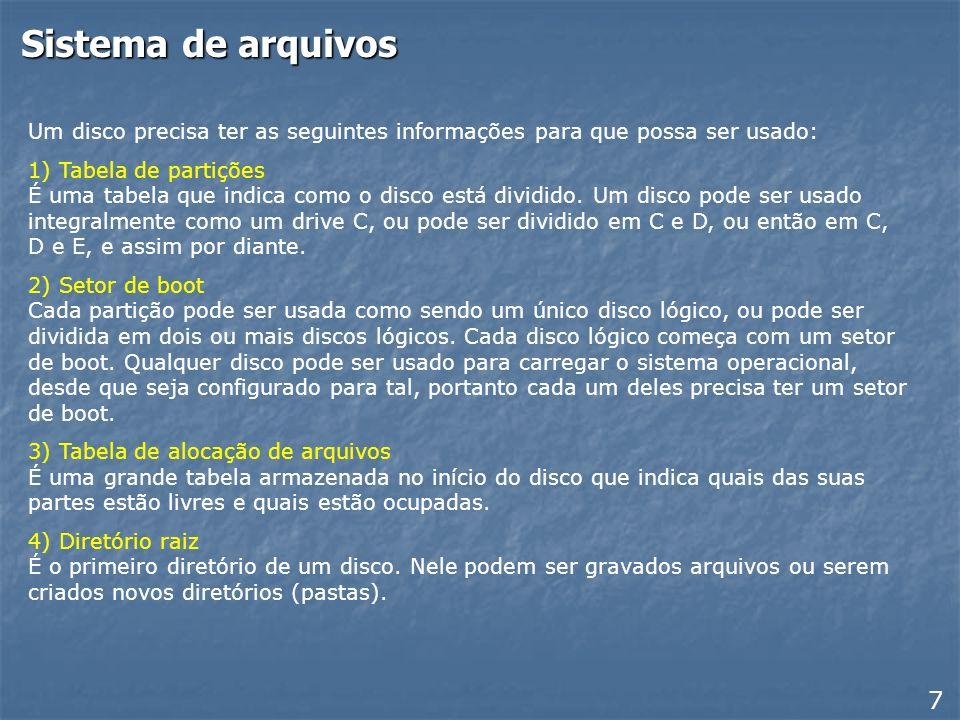 Sistema de arquivos Um disco precisa ter as seguintes informações para que possa ser usado: 1) Tabela de partições É uma tabela que indica como o disco está dividido.