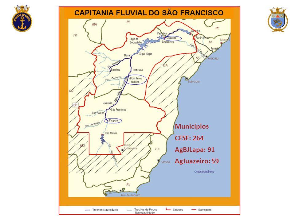 CAPITANIA FLUVIAL DO SÃO FRANCISCO Municípios CFSF: 264 AgBJLapa: 91 AgJuazeiro: 59