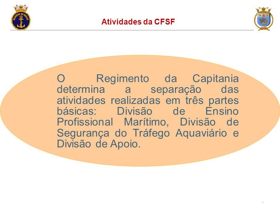 16 Atividades da CFSF O Regimento da Capitania determina a separação das atividades realizadas em três partes básicas: Divisão de Ensino Profissional Marítimo, Divisão de Segurança do Tráfego Aquaviário e Divisão de Apoio.