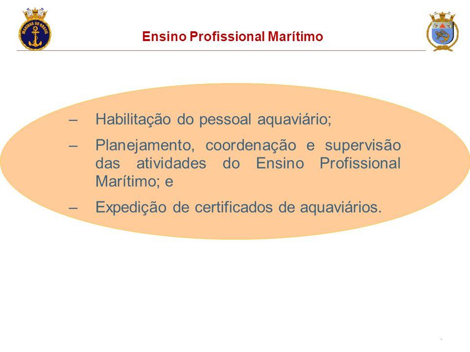 17 Ensino Profissional Marítimo –Habilitação do pessoal aquaviário; –Planejamento, coordenação e supervisão das atividades do Ensino Profissional Marítimo; e –Expedição de certificados de aquaviários.