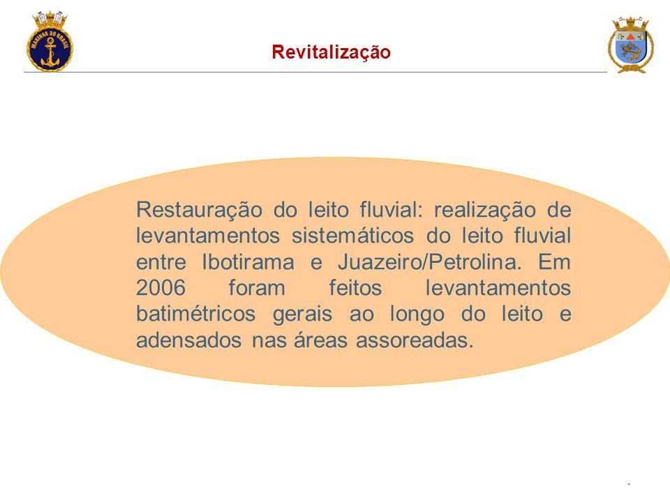 25 Revitalização Restauração do leito fluvial: realização de levantamentos sistemáticos do leito fluvial entre Ibotirama e Juazeiro/Petrolina. Em 2006