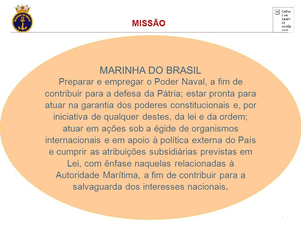 8 MISSÃO MARINHA DO BRASIL Preparar e empregar o Poder Naval, a fim de contribuir para a defesa da Pátria; estar pronta para atuar na garantia dos pod