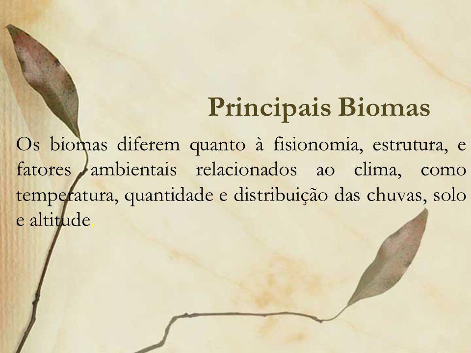 Principais Biomas Os biomas diferem quanto à fisionomia, estrutura, e fatores ambientais relacionados ao clima, como temperatura, quantidade e distrib