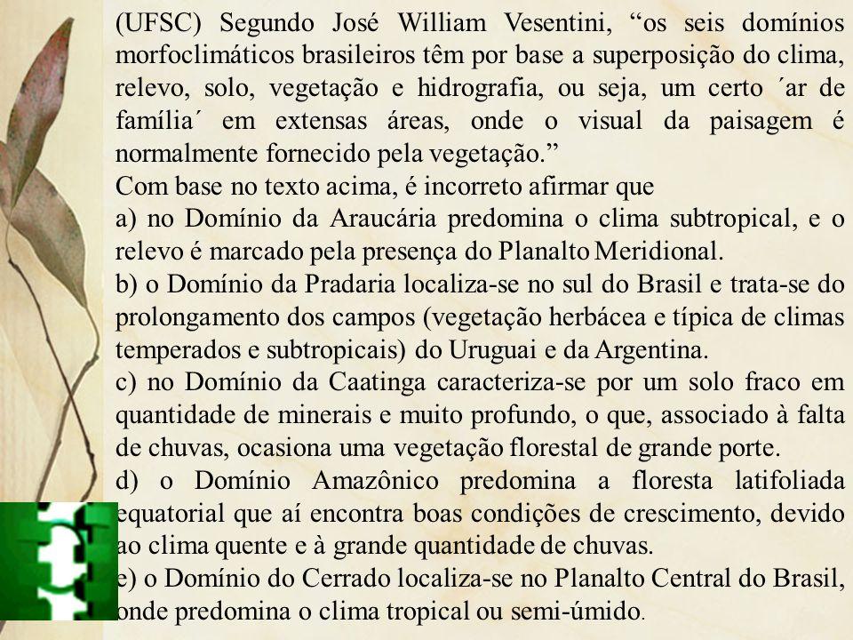 (UFSC) Segundo José William Vesentini, os seis domínios morfoclimáticos brasileiros têm por base a superposição do clima, relevo, solo, vegetação e hi