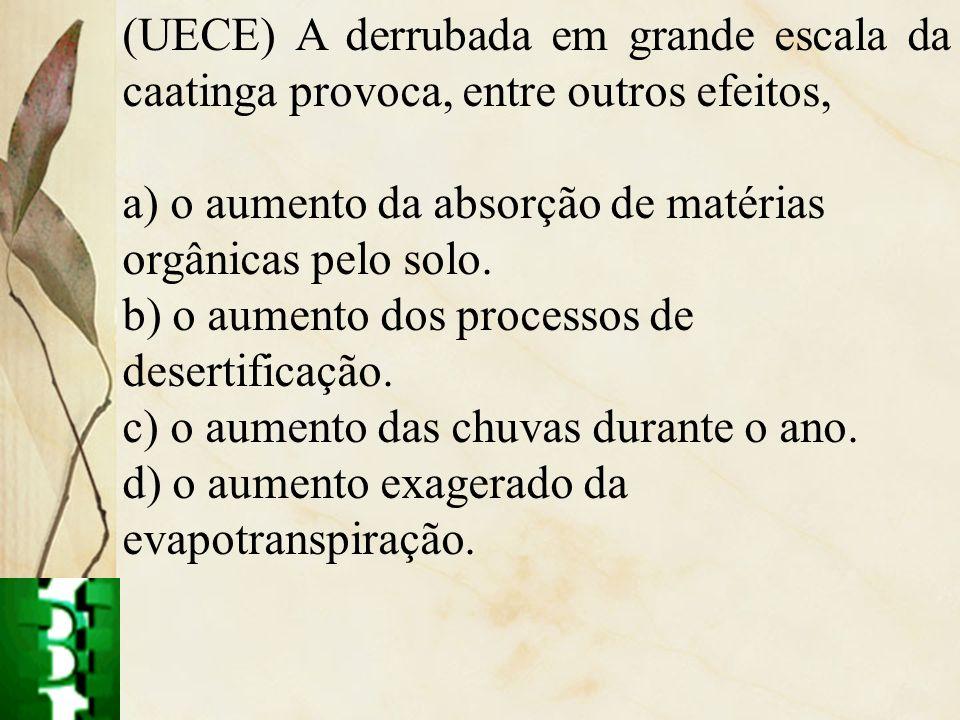 (UECE) A derrubada em grande escala da caatinga provoca, entre outros efeitos, a) o aumento da absorção de matérias orgânicas pelo solo. b) o aumento