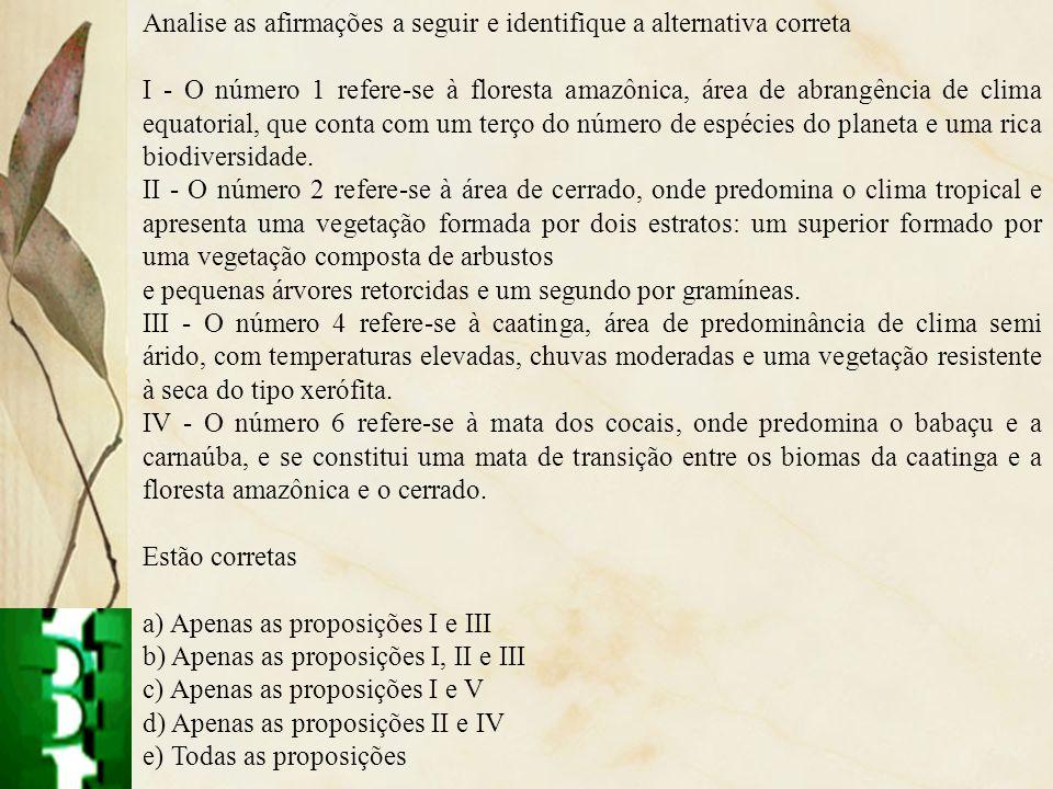 Analise as afirmações a seguir e identifique a alternativa correta I - O número 1 refere-se à floresta amazônica, área de abrangência de clima equator