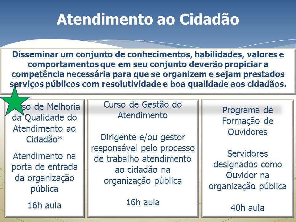 Atendimento ao Cidadão Curso de Melhoria da Qualidade do Atendimento ao Cidadão* Atendimento na porta de entrada da organização pública 16h aula Curso