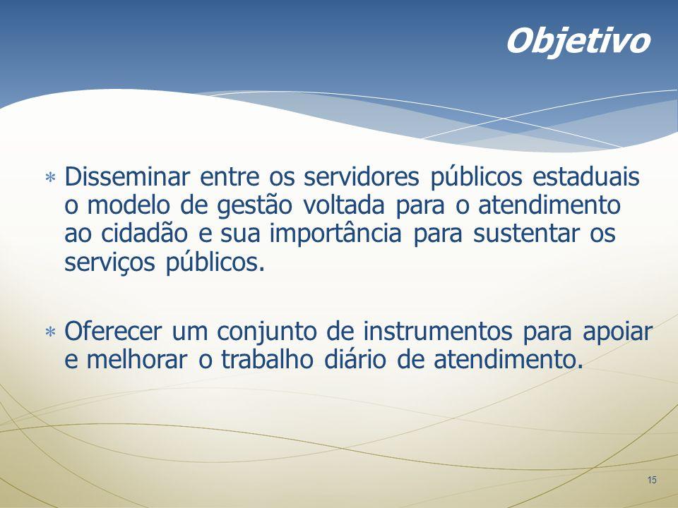 15 Disseminar entre os servidores públicos estaduais o modelo de gestão voltada para o atendimento ao cidadão e sua importância para sustentar os serv